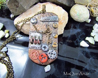 Steampunk badge - chain with steampunk pendants