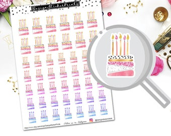Birthday Cake Planner Stickers for Erin Condren Lifeplanner/Birthday Planner Stickers/Happy Planner Stickers/Birthday Stickers/