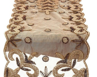 LUXE Designer Ribbon: Table Runner, Fleur De Lis Hand Beaded Motif