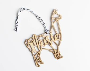 Modern Geometric Llama Alpaca Animal Christmas Ornament Gift Stocking Tag – Personalized