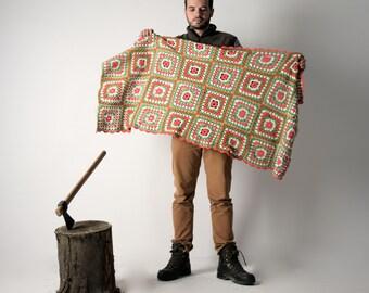 Blanket, Wool Blanket, Handmade afghan, Crochet blanket, Vintage Blanket, Throw blanket, Colorful blanket, Christmas, Made in Italy