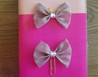 Rose Gold Glitter Bow Planner Clip/ Charm