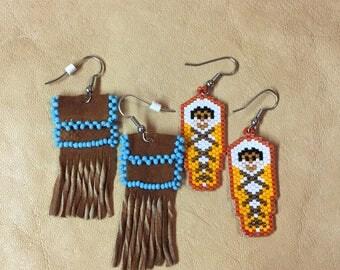 Native American Parfleche & Papoose Earrings