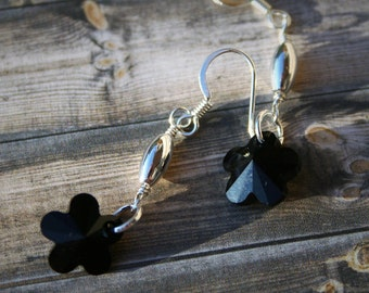 Swarovski Beaded Earrings, Black Crystal Earrings, Swarovski Crystal Earrings, Flower Earrings, Black & Silver Earrings, Beaded Earrings
