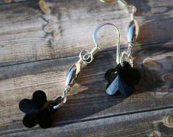 Swarovski Beaded Earrings, Black Crystal Earrings, Swarovski Crystal Earrings, Flower Earrings, Black & Silver Earrings, Beaded Earrings