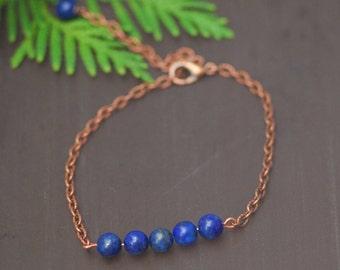 Copper Lazuli bracelet Blue lapis bracelet Lapis lazuli stone bracelet Gemstone bracelet Bracelet gemstone Blue gemstone bracelet