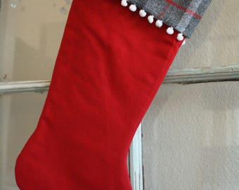 Red Linen Stocking--Plaid Cuff Pom pom #31