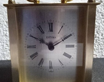 Brass Carriage Clock/Estyma/Vintage/1980s
