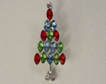 Christmas Tree Pin, Marquis Rhinestone Red Green Aqua Blue, Petite, RARE Book Piece