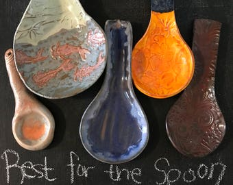 Catfish, Big Red, Flower, Bubble Blue, and Hanging Orange Ceramic Spoon Rests