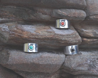 adjustable silver plated white brass toe ring middle finger midi black onyx turquoise coral bague de pied bague d'orteil laiton