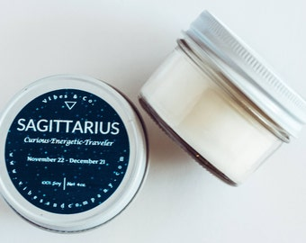 Sagittarius Zodiac Scented Candle - 4oz. Soy Candle - Horoscope - Birthday Gift - Personalized Candle - Zodiac Sign Sagittarius