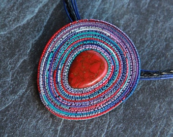 Red Coral pendant Polymer clay pendant Boho ethnic necklace  Pendant coral necklace Red cabochon pendant Womens Gift for her Stone jewelry