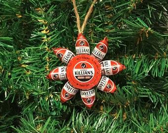 Jillian's Irish Red beer cap Christmas ornaments
