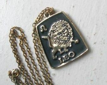"Vintage 1970s Leo Pendant // Lion Zodiac Sign // Black Enamel on Silver Tone // 1.5"" x 1.25"""