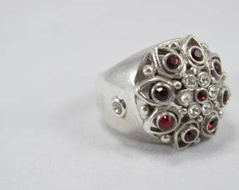 Barce Ruby Ring, Cubic Zerconia, Ruby Gemstones, Barse Ring, Vintage Ring