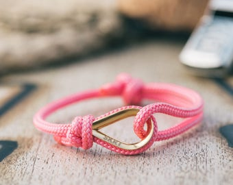 Handmade Customized Nautical sailing bracelet gold pink color | Personalized silver present Adjustable size Unisex