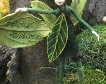"Fae Folk® Fairies - WILLOW - Forest Elf. Bendable, posable 5"" soft doll can sit, stand, or hang."