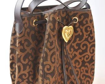 Yves Saint Laurent YSL Vintage Arabesque Canvas Heart Logo Drawstring Bag
