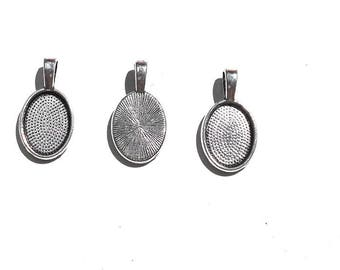 10PC. 14mm Oval Cabochon Setting//Antique Silver Tone Plated Pendant Bezel Tray//Oval Bases Fit 14MM Glass Cabochon