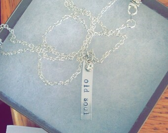 Hand stamped old soul necklace with rhinestone