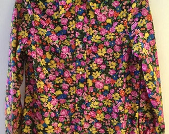Size 6, 70s PSYCHEDELIC Fluorescent Pink, Yellow, Blue, & Green Flower Power Floral Print Vintage Button-Up Shirt, by Sears