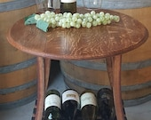 Wine Barrel Head End Table with Wine Storage Side Table Occasional Table Furniture