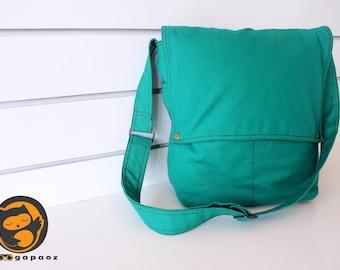 Sale - Viridian Canvas Bag - diaper bag, tote, purse, cross body bag, stylish - Mercury