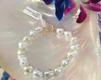 Champagne South Sea Pearl bracelet with Clasp#2361