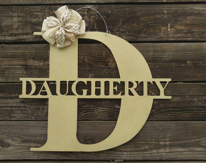 Monogram Door Hanger, Door Wreaths, Wedding Gift, Wedding Sign, Metal Signs, Wall Hanging, Large Metal Letters, Family Name Signs, Last Name