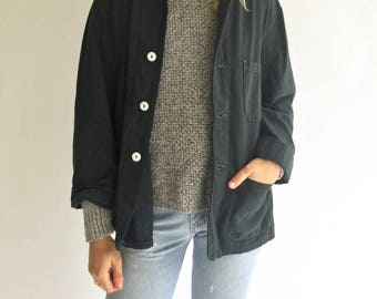 Vintage S M L Charcoal Graphite Black Overdye Chore Coat Blazer | Three Patch Pocket Cotton French Workwear Style Utility Work Jacket
