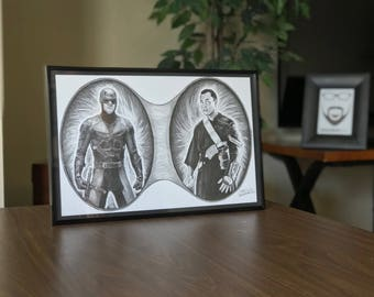 "11x17"" Framed Original Graphite Drawing of Charlie Cox as Marvel's Daredevil and Donnie Yen as Chirrut Imwe from Rogue One"