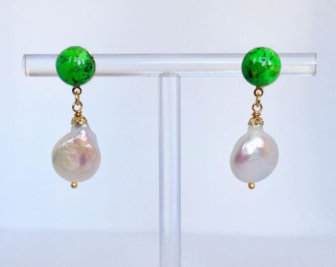 Pearls and turquoise drop earrings