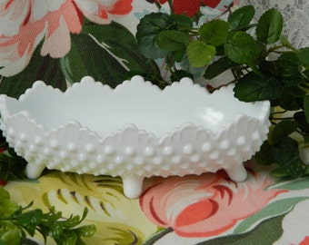 Fenton White Milk Glass Hobnail Footed Candy Dish Bowl, Wedding, Bridal Shower, 50s 60s, Candy Dish, White, Milkglass, Oval, Scalloped Edge