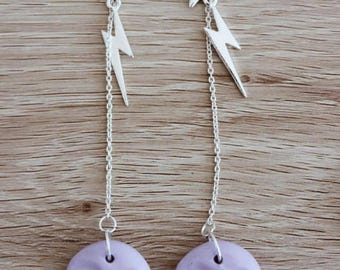 PASTEL PURPLE moon face | statement drop earrings | limited edition