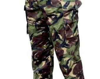 95 DPM Camourflage Trousers - British Army Military - 85/84/100 Medium - Faded - Vintage - E495