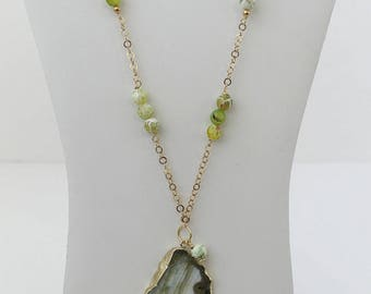 Gold-Filled Long Necklace with Green and Gold Agate Stone. FK