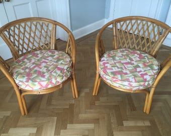 Beautiful Pair Bamboo Cane Rattan Lounge Chairs Hollywood Regency