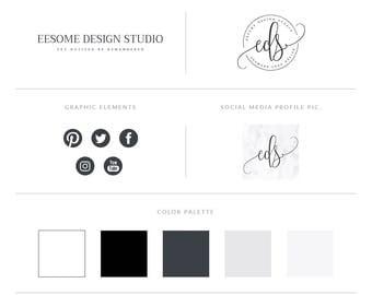 Elegant Script Style Logo Design Branding Package Inc. Photography Logo Watermark - White Marble Premade Branding Kit,Complete Branding Set