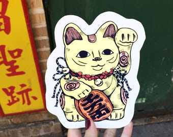Maneki-neko Sticker/Kawaii Vinyl stickers/Neko Planner Stickers/Cute Stickers for laptop