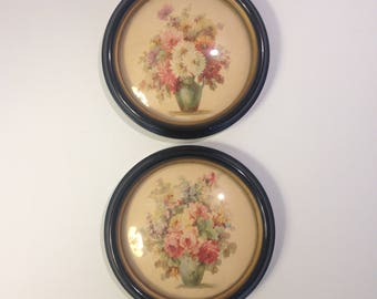 "Vintage Prints, Roses and Mums, Set of 2, 6"" Round Black Frames with Gold Interior Trim, Convex Glass, by C & A Richards, Boston Mass"