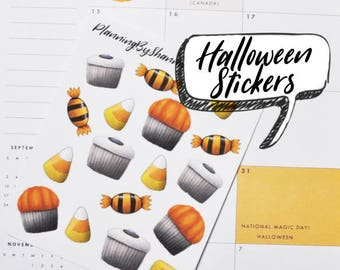 Halloween Sweets Planner Stickers perfect for all planners, journals, school folders, and more! Super cute and kawaii