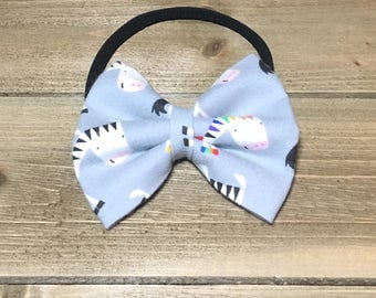 Zebra Headband- Zebra Bow; Zebra Hair Bow; Zebra Nylon Headbands; Zebra Accessories; Nylon Headband; Bow Headband; Toddler Headband; Bows