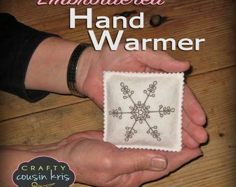 Pair of Delicate Snowflake Embroidered Pocket Hand Warmers