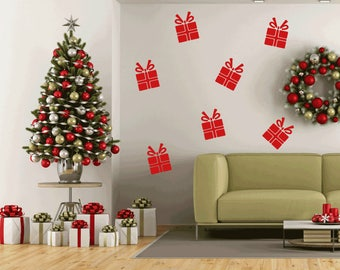 10 Christmas Present Wall Stickers, Christmas Stickers, Xmas Presents, Christmas  Wall Decals,