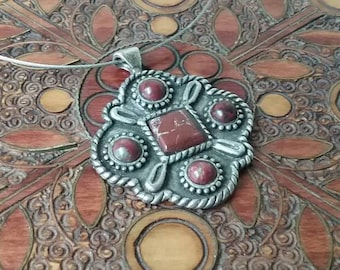 Vintage pendant, sterling silver, red natural stone