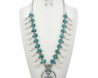 Navajo Turquoise Squash Blossom Necklace Set with Earrings Native American Jewelry