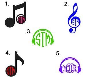 Music Monogram Decal, Music Monogram, Treble Clef monogram, music note monogram, Head Phone Monogram, band decals
