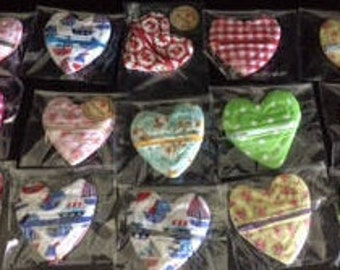 Hand Made Love-heart Coin Purse 100% Cotton Fully Lined