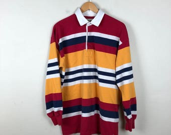 90s Striped Rugby Polo Size L, Primary Striped Shirt, Long Sleeve Polo Shirt, Color Block Shirt